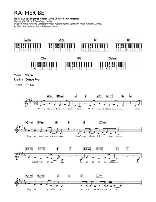 Clean Bandit Rather Be (feat. Jess Glynne) sheet music notes and chords. Download Printable PDF.