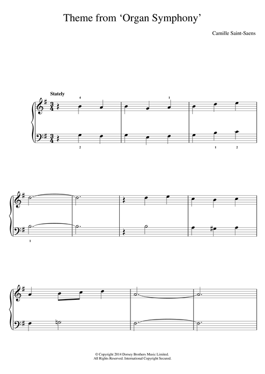 Camille Saint-Saens 'Organ' Symphony (Theme) sheet music notes and chords. Download Printable PDF.