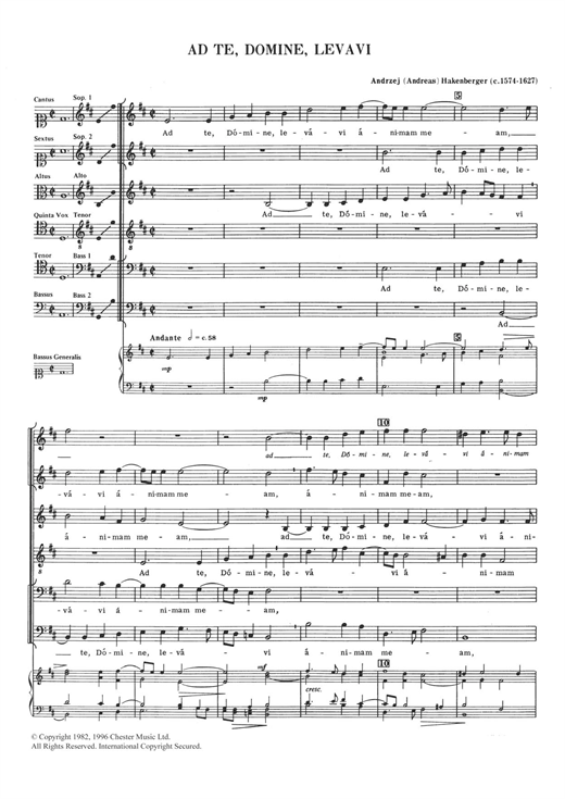 Andreas Hakenberger Ad Te, Domine, Levavi sheet music notes and chords. Download Printable PDF.
