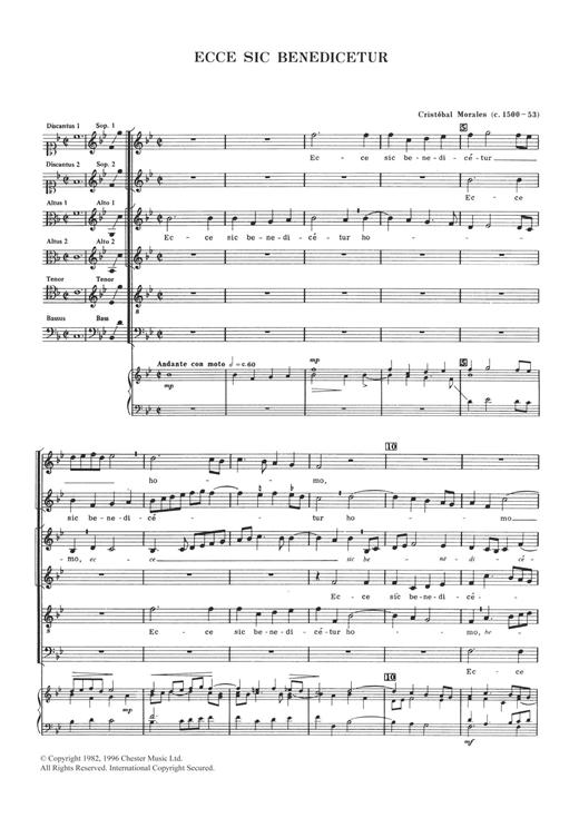 Cristobal Morales Ecce Sic Benedicetur sheet music notes and chords. Download Printable PDF.