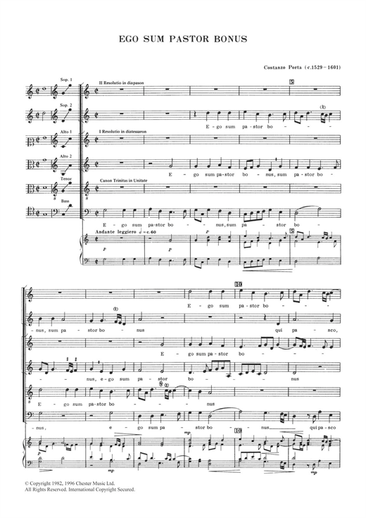Costanzo Porta Ego Sum Pastor Bonus sheet music notes and chords. Download Printable PDF.