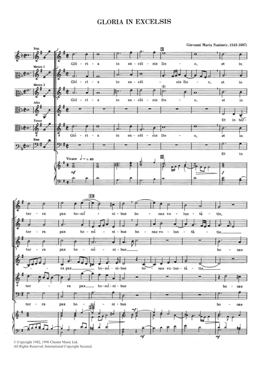 Giovanni Maria Nanino Gloria In Excelsis sheet music notes and chords. Download Printable PDF.