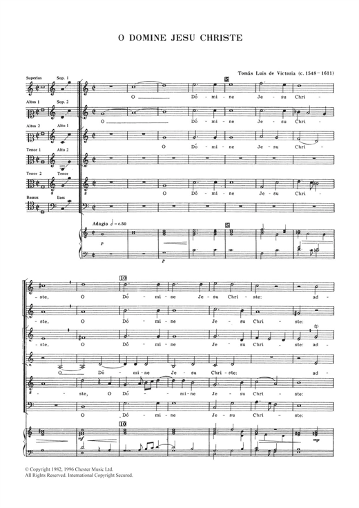 Tomas Luis De Victoria O Domine Jesu Christe sheet music notes and chords. Download Printable PDF.