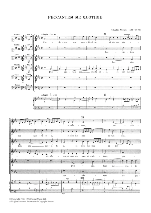 Claudio Merulo Peccantem Me Quotidie sheet music notes and chords. Download Printable PDF.
