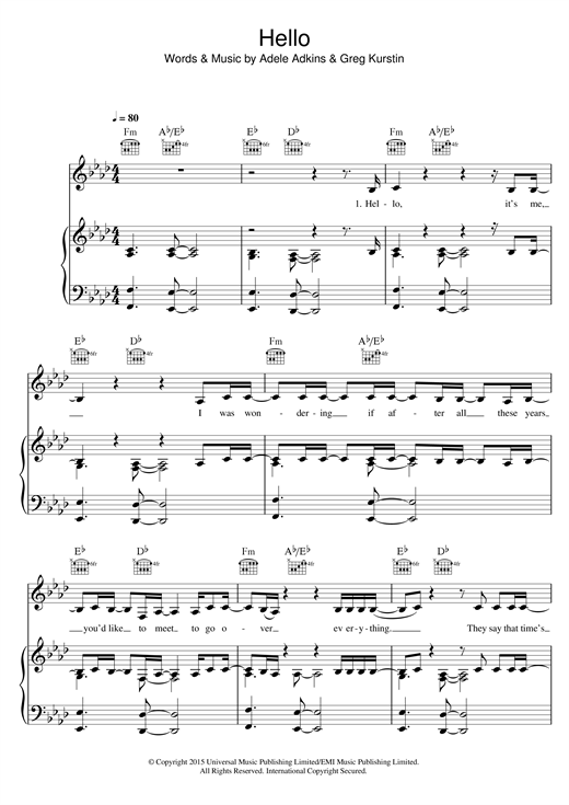 Adele Hello sheet music notes and chords. Download Printable PDF.