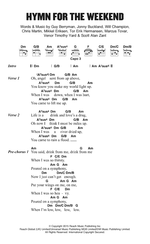 Coldplay Hymn For The Weekend sheet music notes and chords. Download Printable PDF.