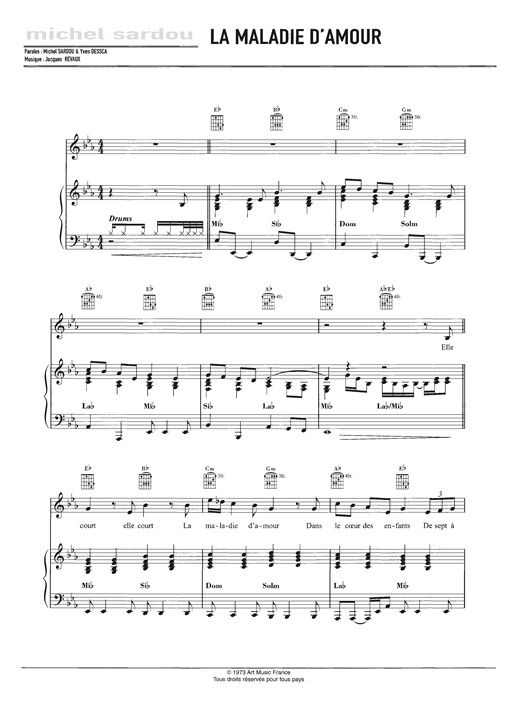 Michel Sardou La Maladie D Amour Sheet Music Notes Chords Piano Vocal Guitar Download Pop 125474 Pdf