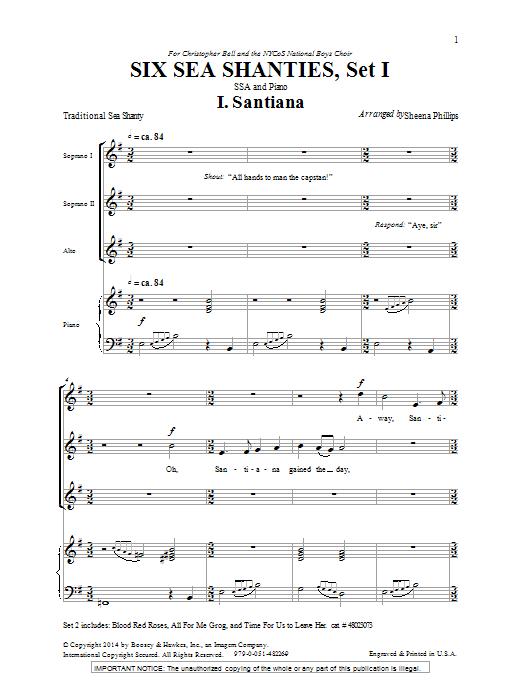 Sheena Phillips Six Sea Shanties Vol. 1 sheet music notes and chords. Download Printable PDF.