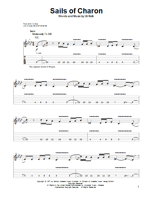 Scorpions Sails Of Charon sheet music notes and chords. Download Printable PDF.