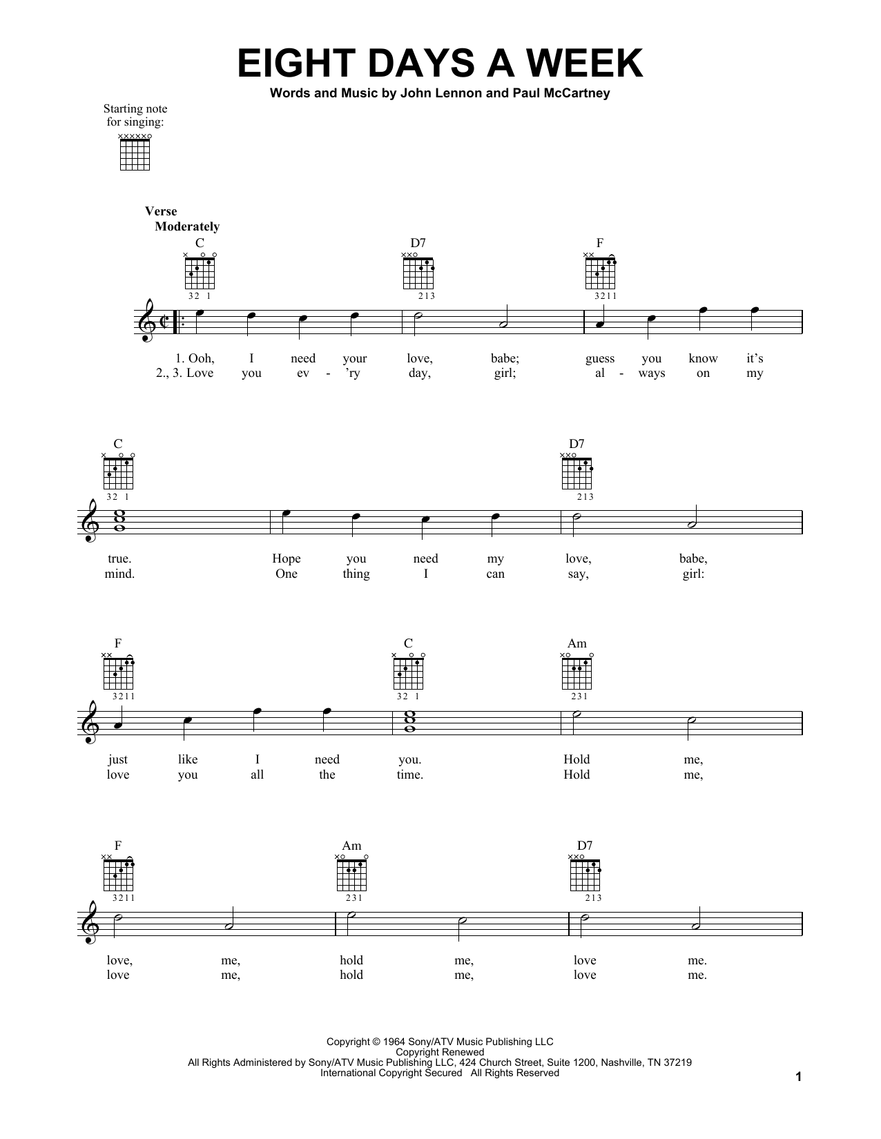 The Beatles Eight Days A Week sheet music notes and chords. Download Printable PDF.