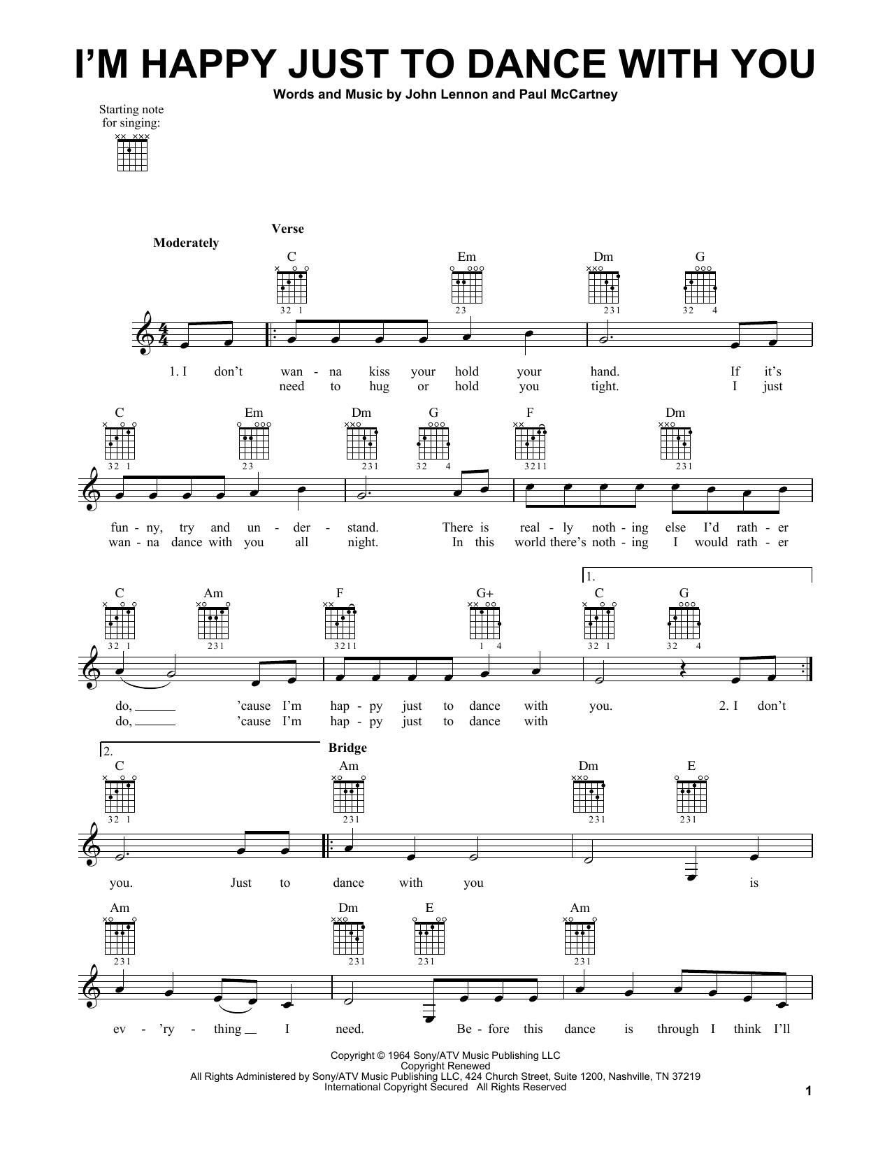The Beatles I'm Happy Just To Dance With You sheet music notes and chords. Download Printable PDF.