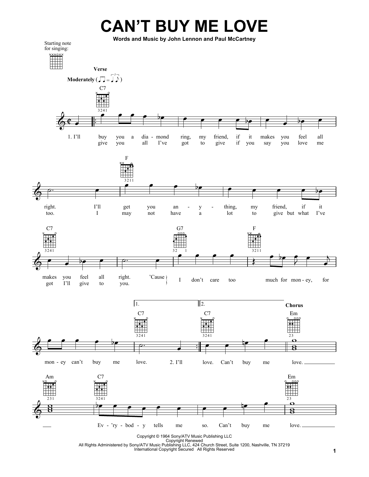 The Beatles Can't Buy Me Love sheet music notes and chords. Download Printable PDF.