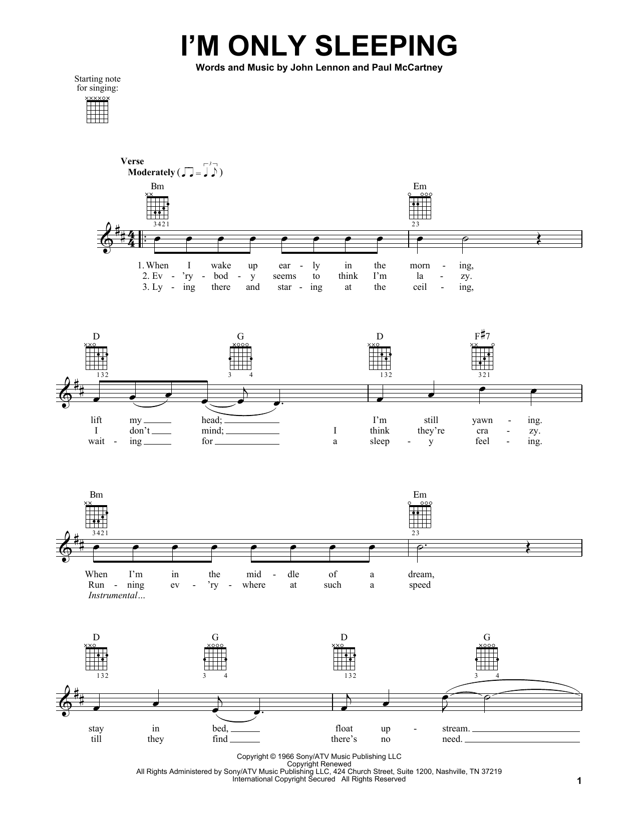 The Beatles I'm Only Sleeping sheet music notes and chords. Download Printable PDF.