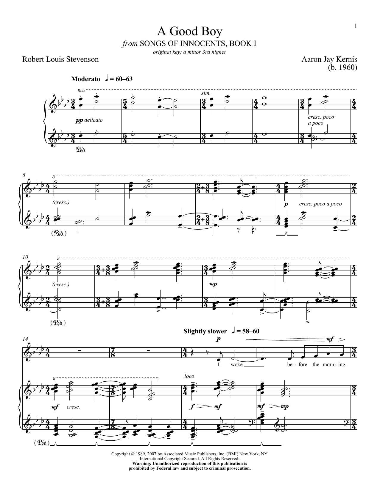 Aaron Jay Kernis A Good Boy sheet music notes and chords. Download Printable PDF.