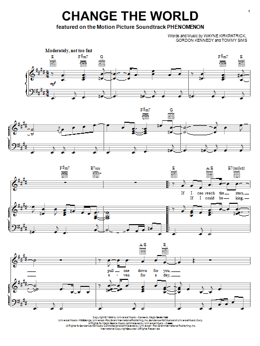 Eric Clapton with Wynonna Change The World sheet music notes and chords. Download Printable PDF.