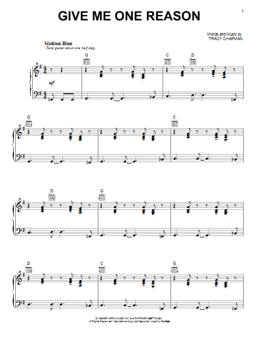 Tracy Chapman Give Me One Reason sheet music notes and chords. Download Printable PDF.