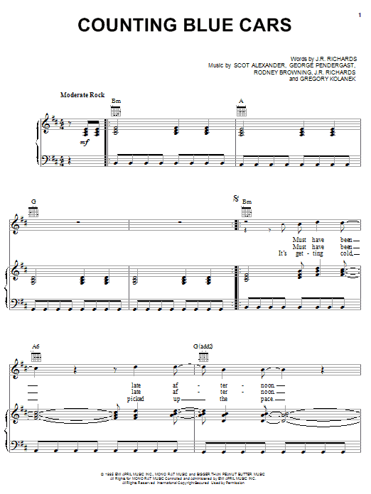 Dishwalla Counting Blue Cars sheet music notes and chords. Download Printable PDF.