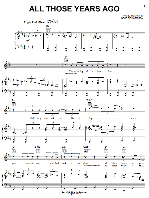 George Harrison All Those Years Ago sheet music notes and chords. Download Printable PDF.