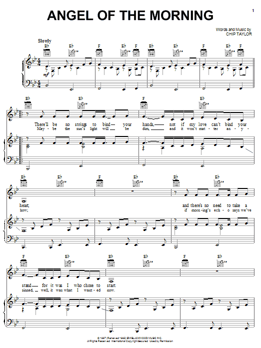 Juice Newton Angel Of The Morning sheet music notes and chords. Download Printable PDF.
