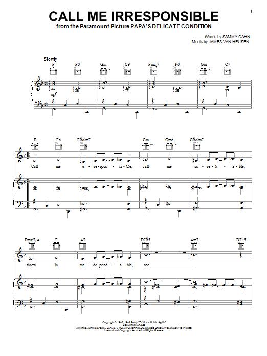 Frank Sinatra Call Me Irresponsible sheet music notes and chords. Download Printable PDF.