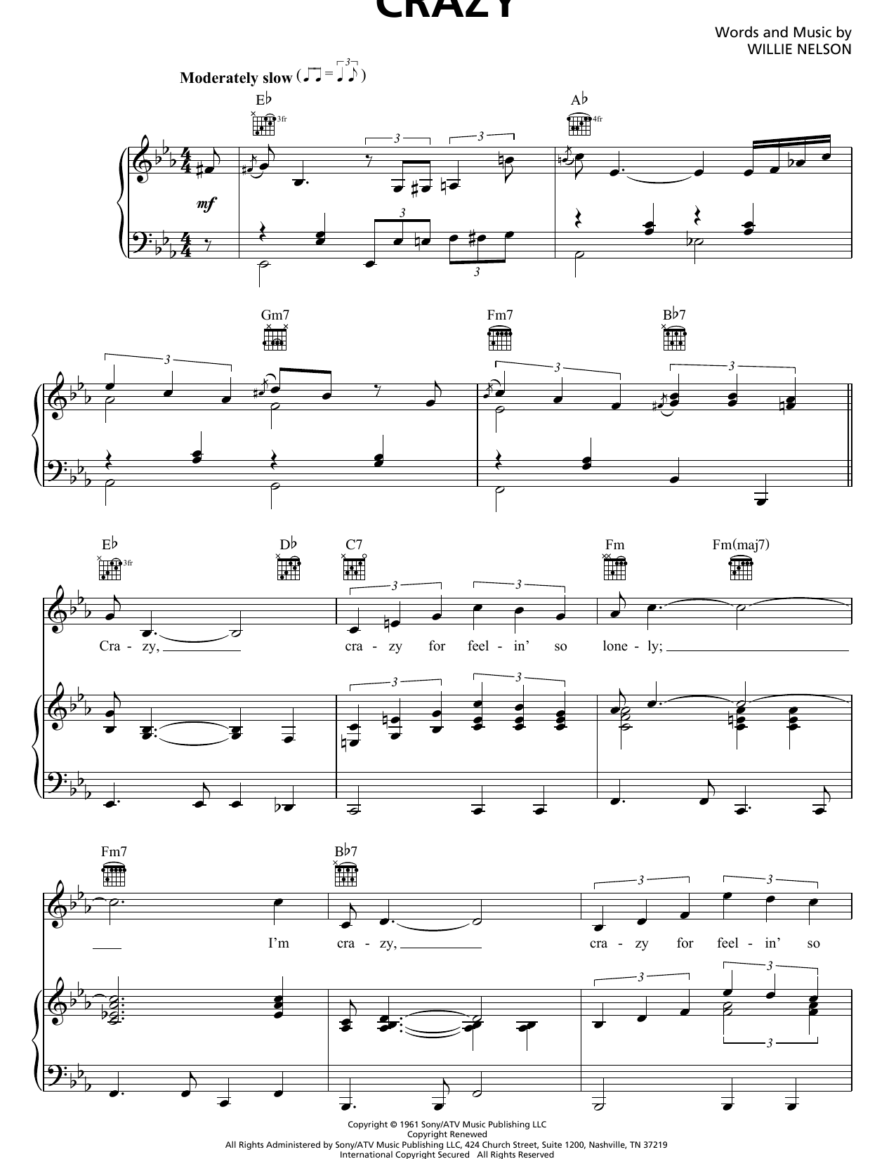 Patsy Cline Crazy sheet music notes and chords. Download Printable PDF.