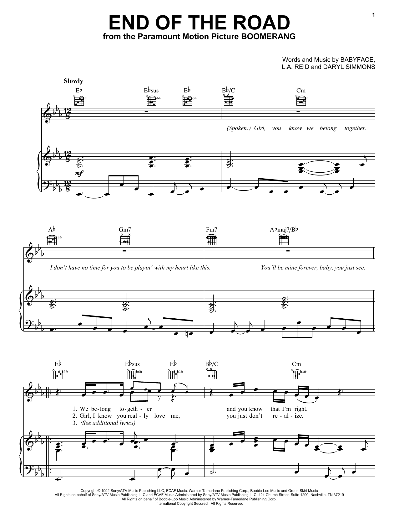 Boyz II Men End Of The Road sheet music notes and chords. Download Printable PDF.