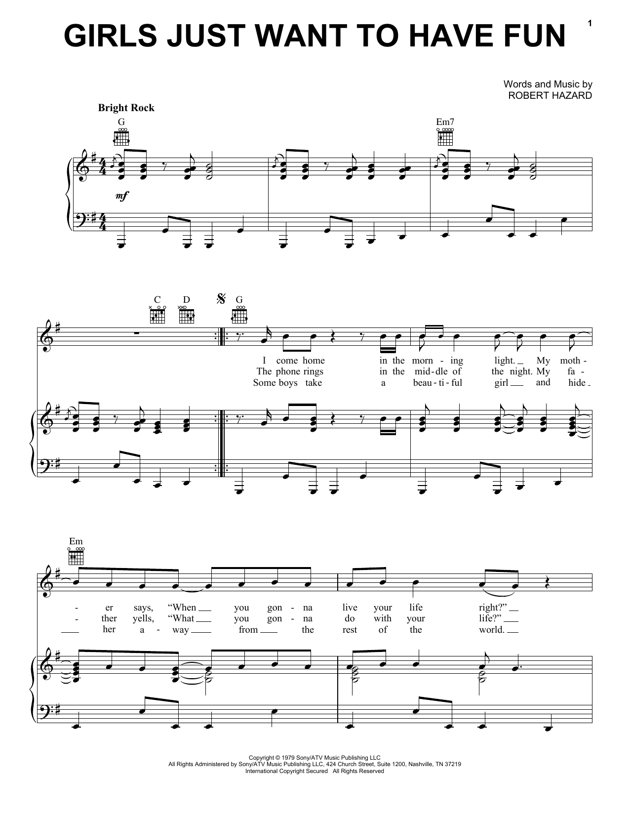 Cyndi Lauper Girls Just Want To Have Fun sheet music notes and chords. Download Printable PDF.