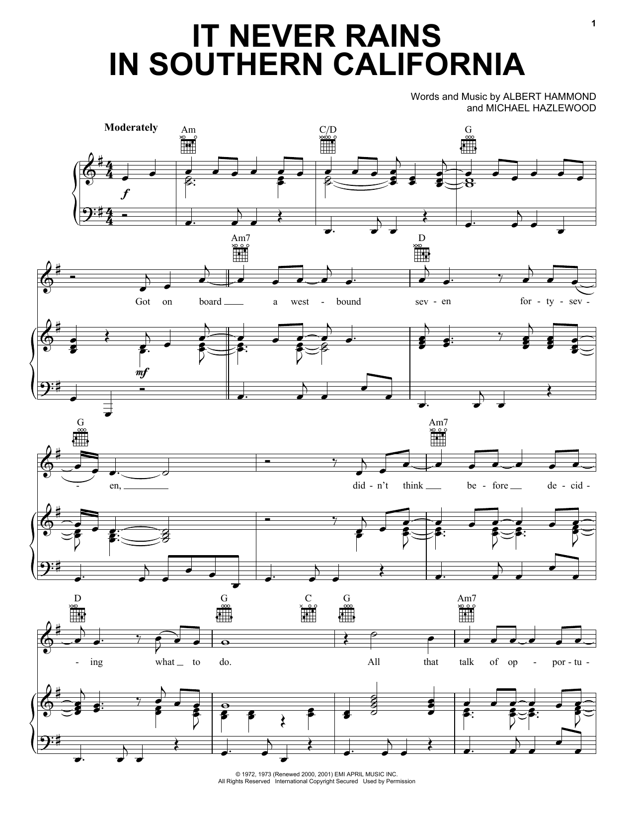 Albert Hammond It Never Rains In Southern California sheet music notes and chords. Download Printable PDF.