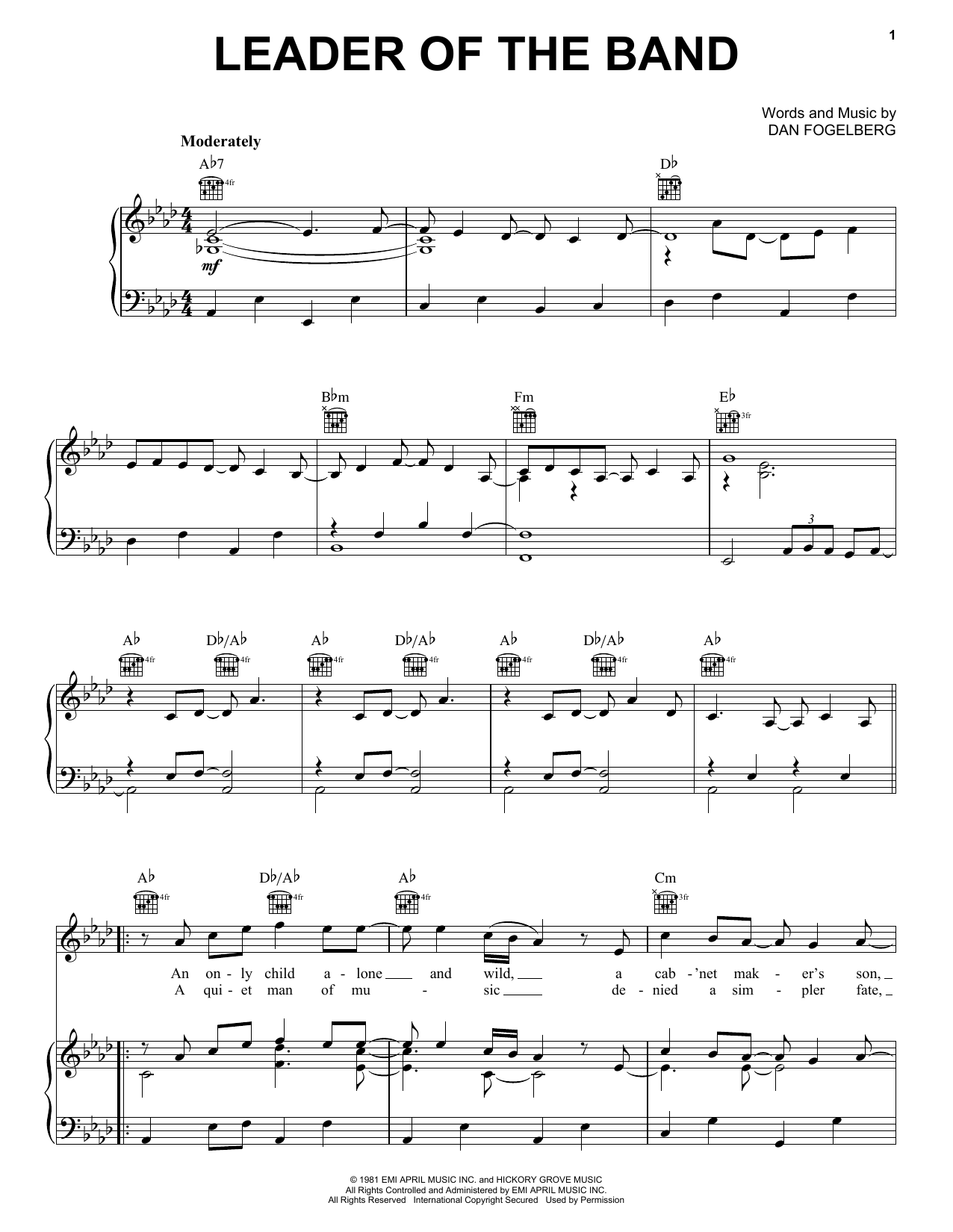 Dan Fogelberg Leader Of The Band sheet music notes and chords. Download Printable PDF.