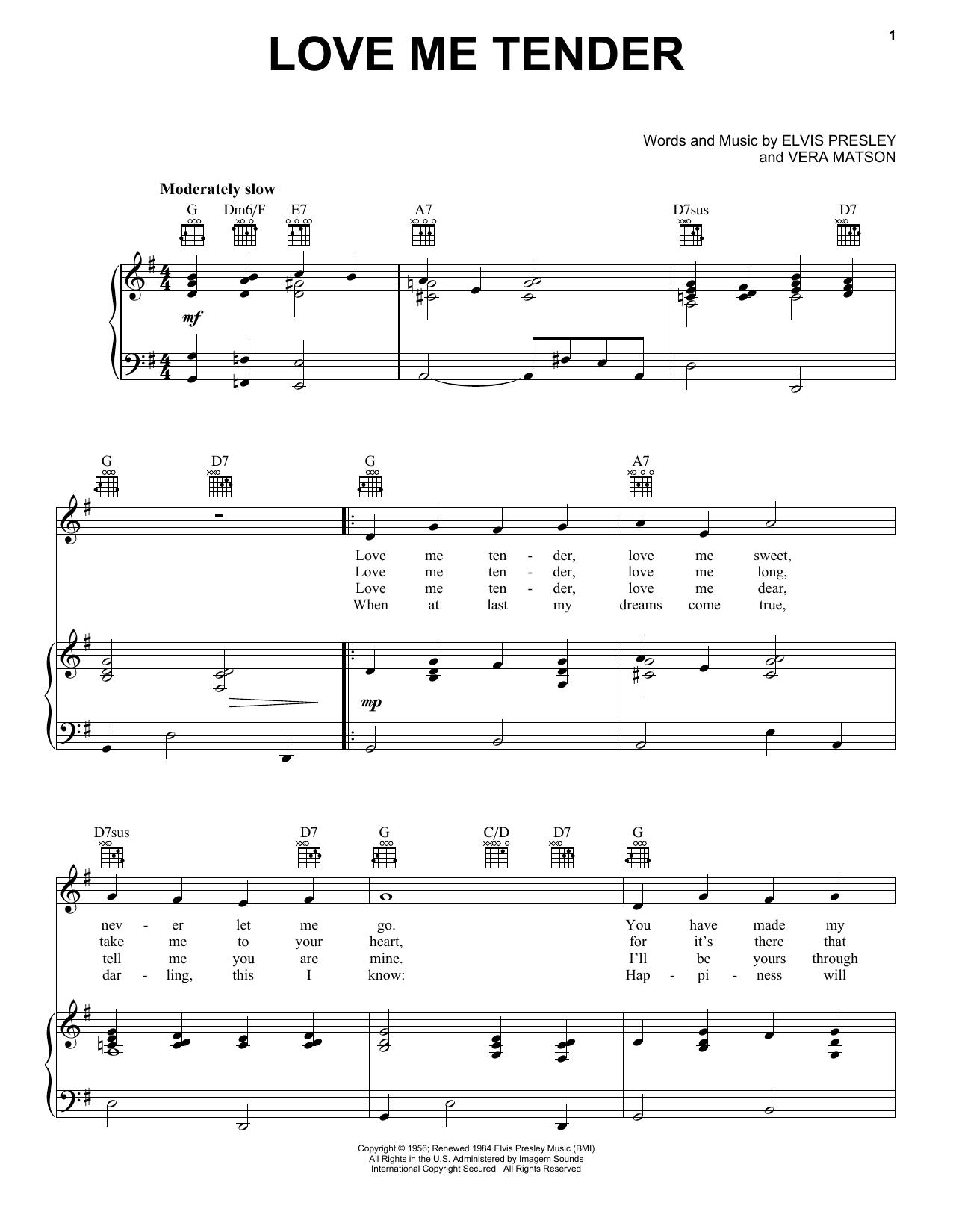 Elvis Presley Love Me Tender sheet music notes and chords. Download Printable PDF.