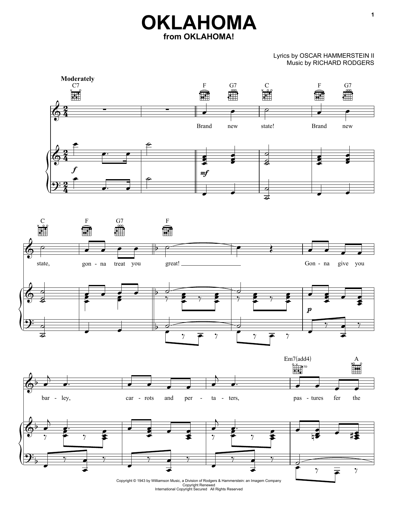 Rodgers & Hammerstein Oklahoma sheet music notes and chords. Download Printable PDF.