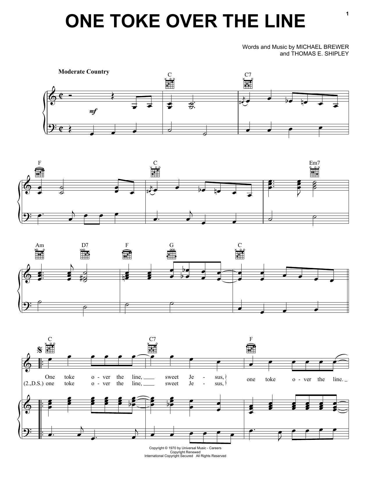 Brewer & Shipley One Toke Over The Line sheet music notes and chords. Download Printable PDF.