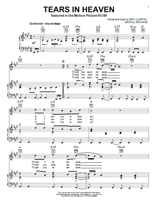 Eric Clapton Tears In Heaven sheet music notes and chords. Download Printable PDF.