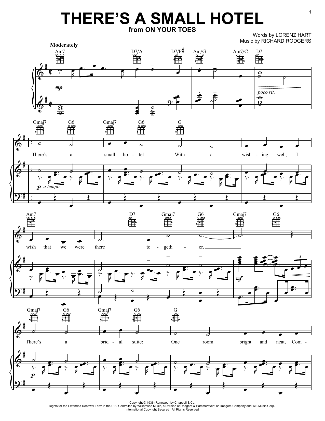 Charlie Byrd There's A Small Hotel sheet music notes and chords. Download Printable PDF.