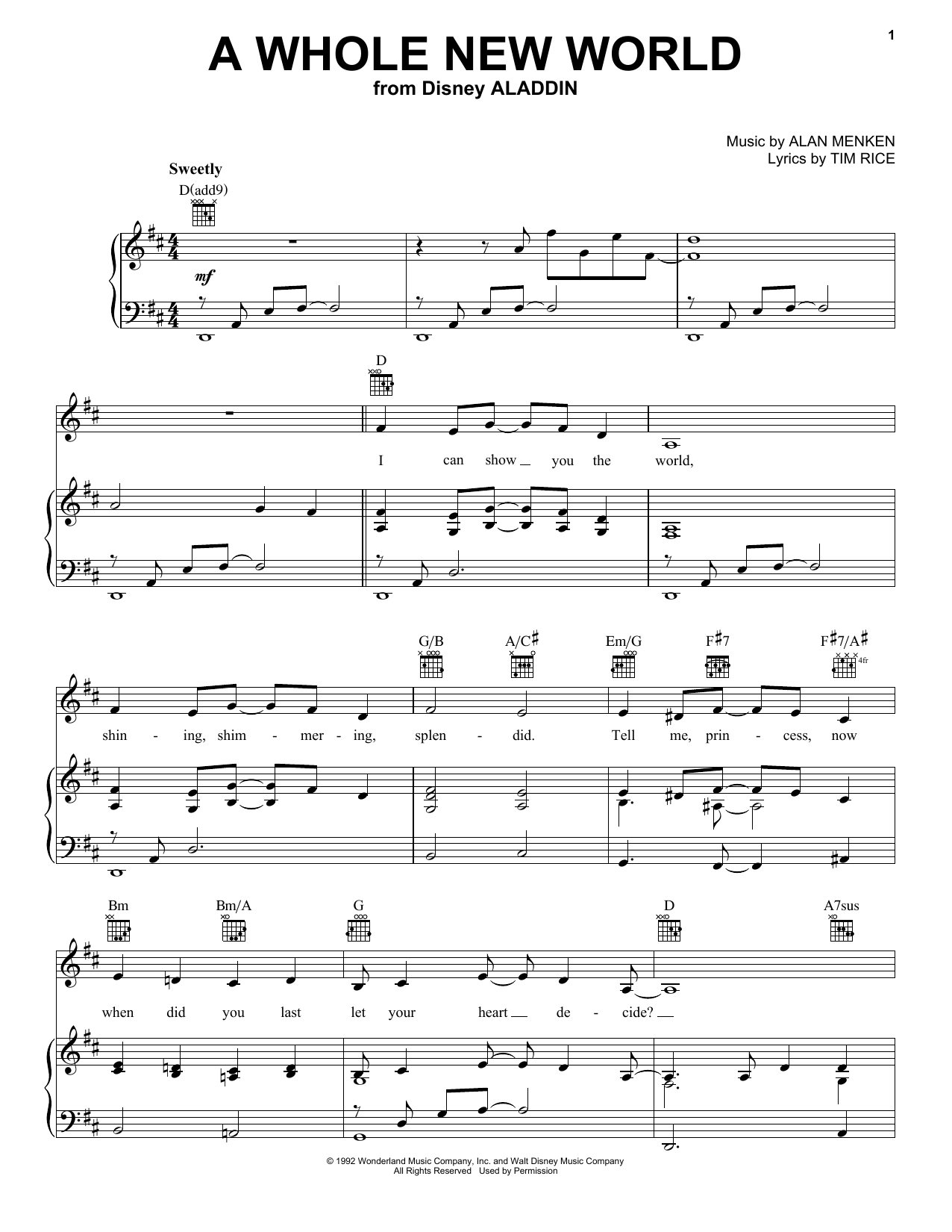 Alan Menken A Whole New World sheet music notes and chords. Download Printable PDF.