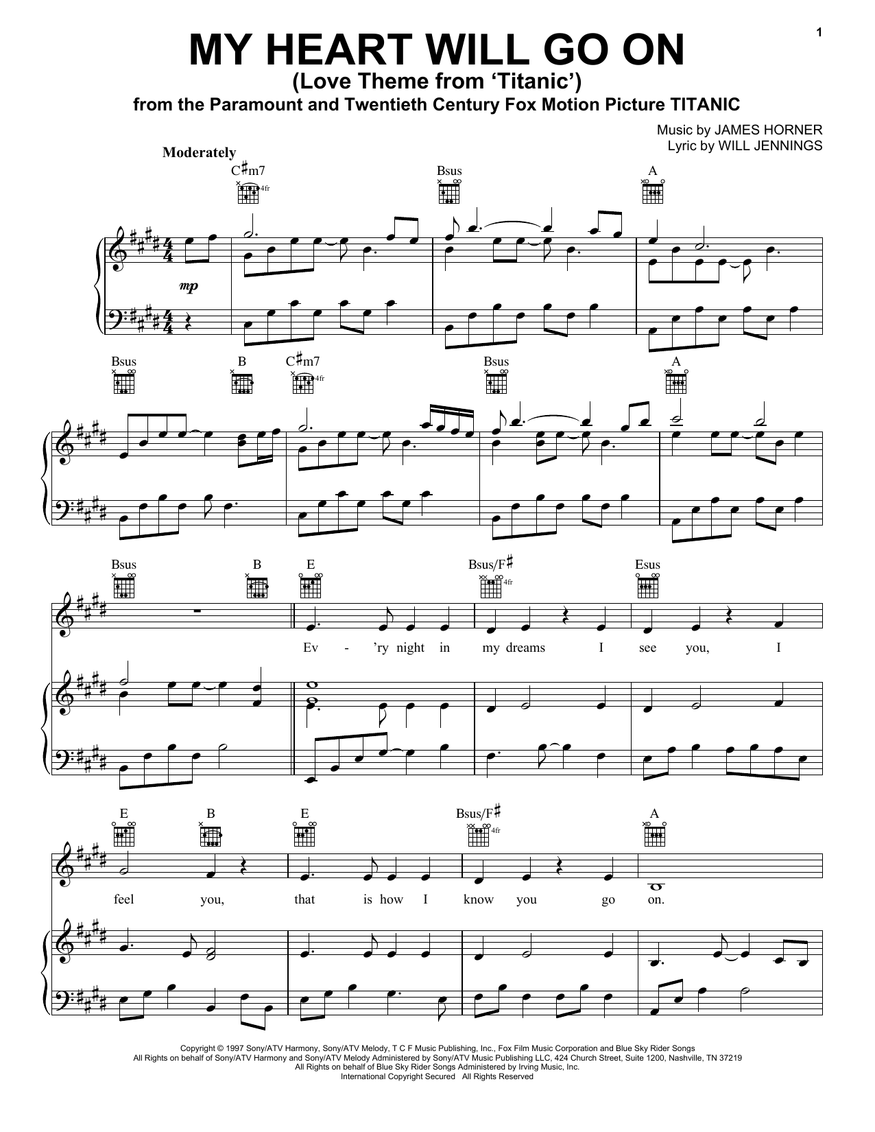 Celine Dion My Heart Will Go On (Love Theme from Titanic) sheet music notes and chords. Download Printable PDF.