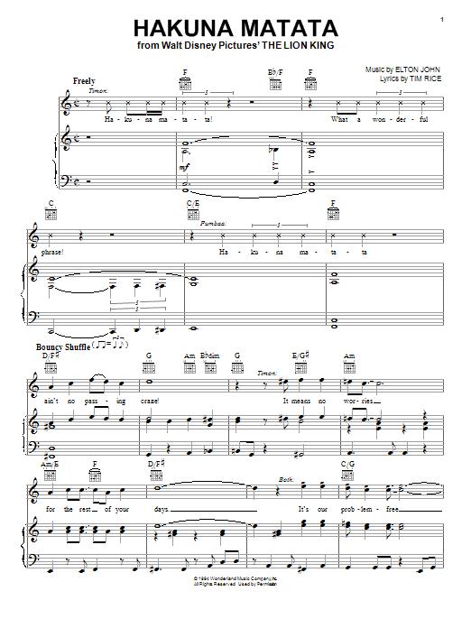 Elton John Hakuna Matata sheet music notes and chords. Download Printable PDF.