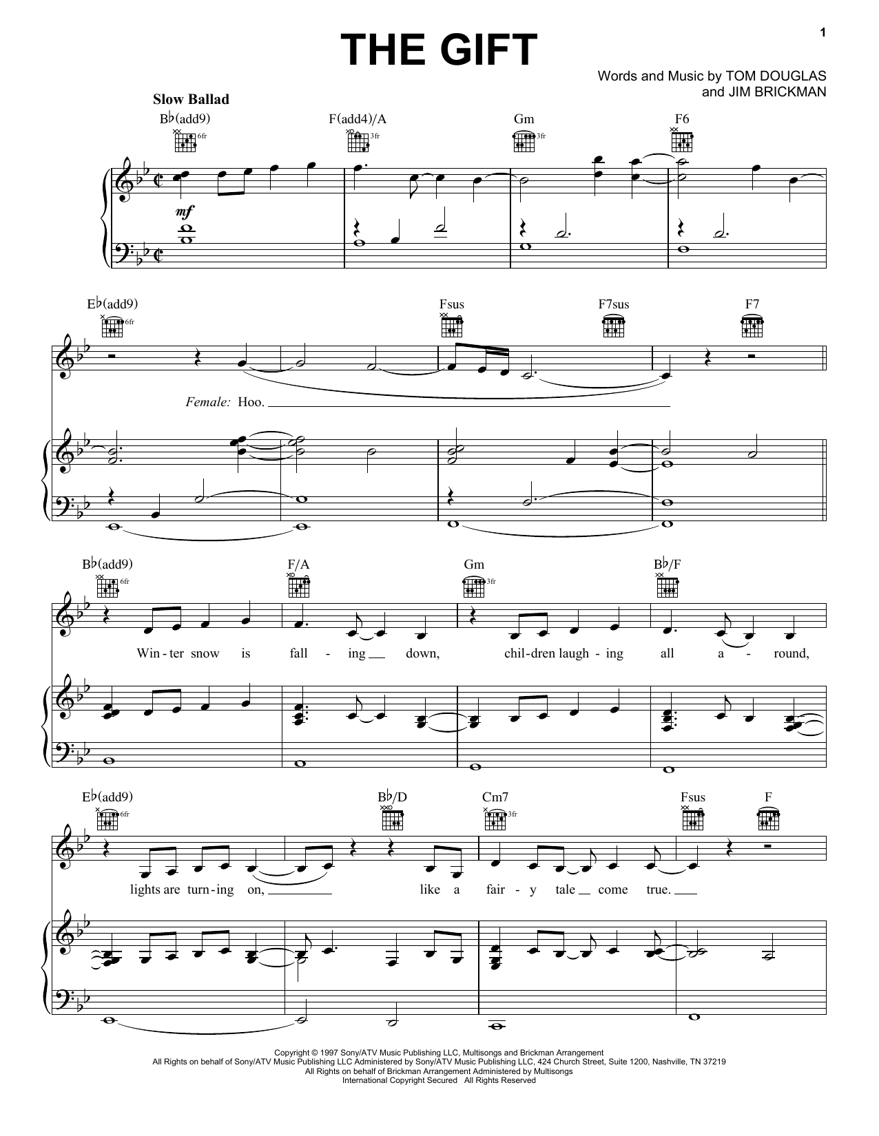 Jim Brickman The Gift sheet music notes and chords. Download Printable PDF.