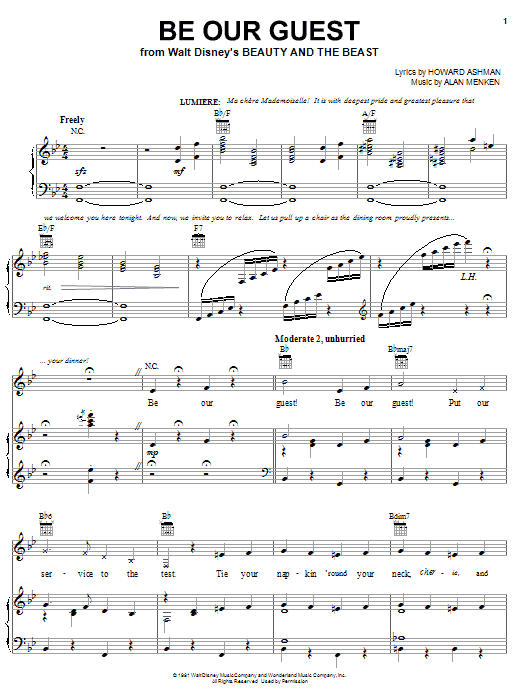 Alan Menken Be Our Guest sheet music notes and chords. Download Printable PDF.