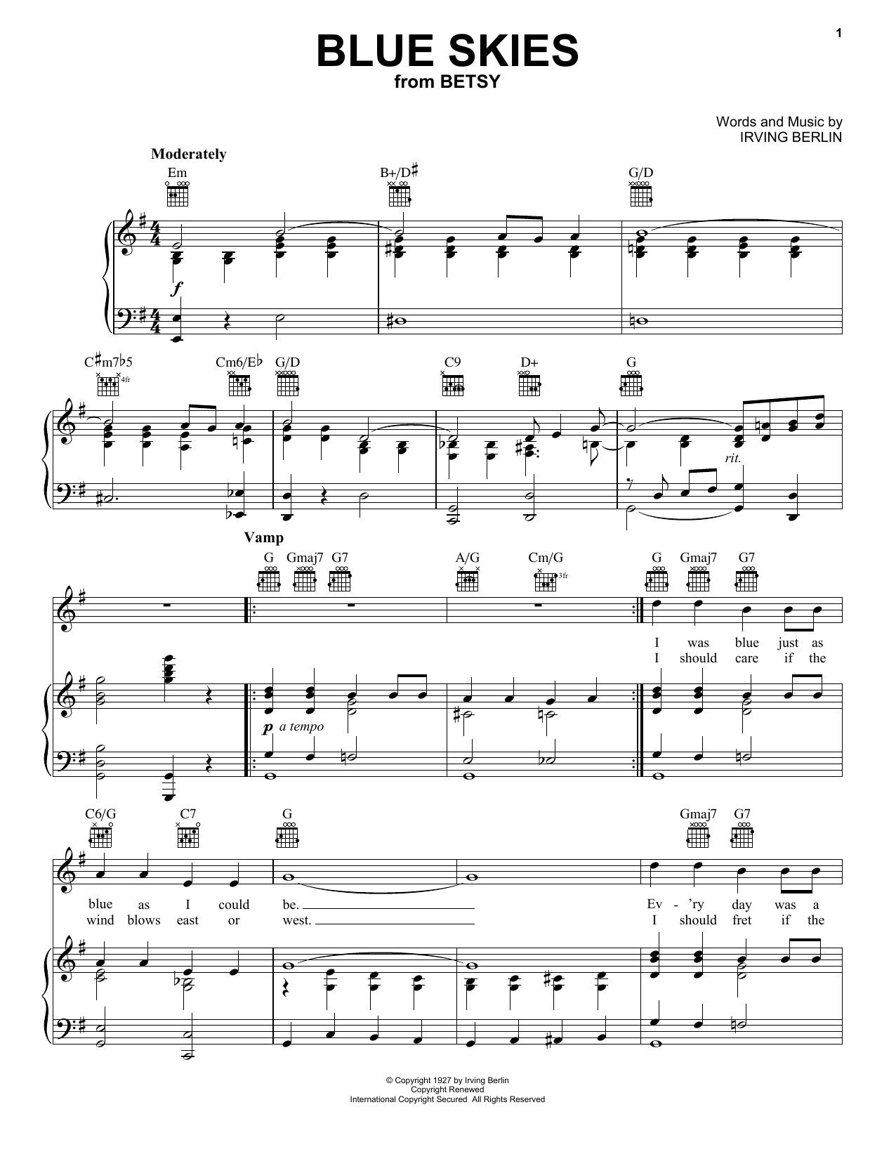 Frank Sinatra Blue Skies sheet music notes and chords. Download Printable PDF.