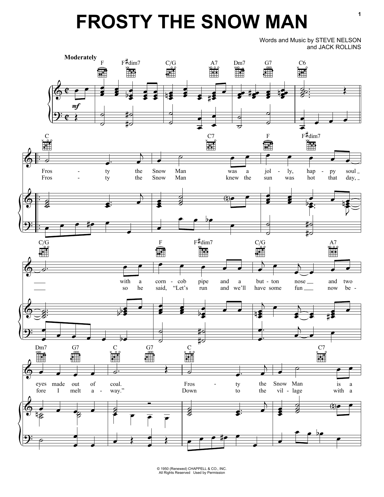 The Beach Boys Frosty The Snow Man sheet music notes and chords. Download Printable PDF.