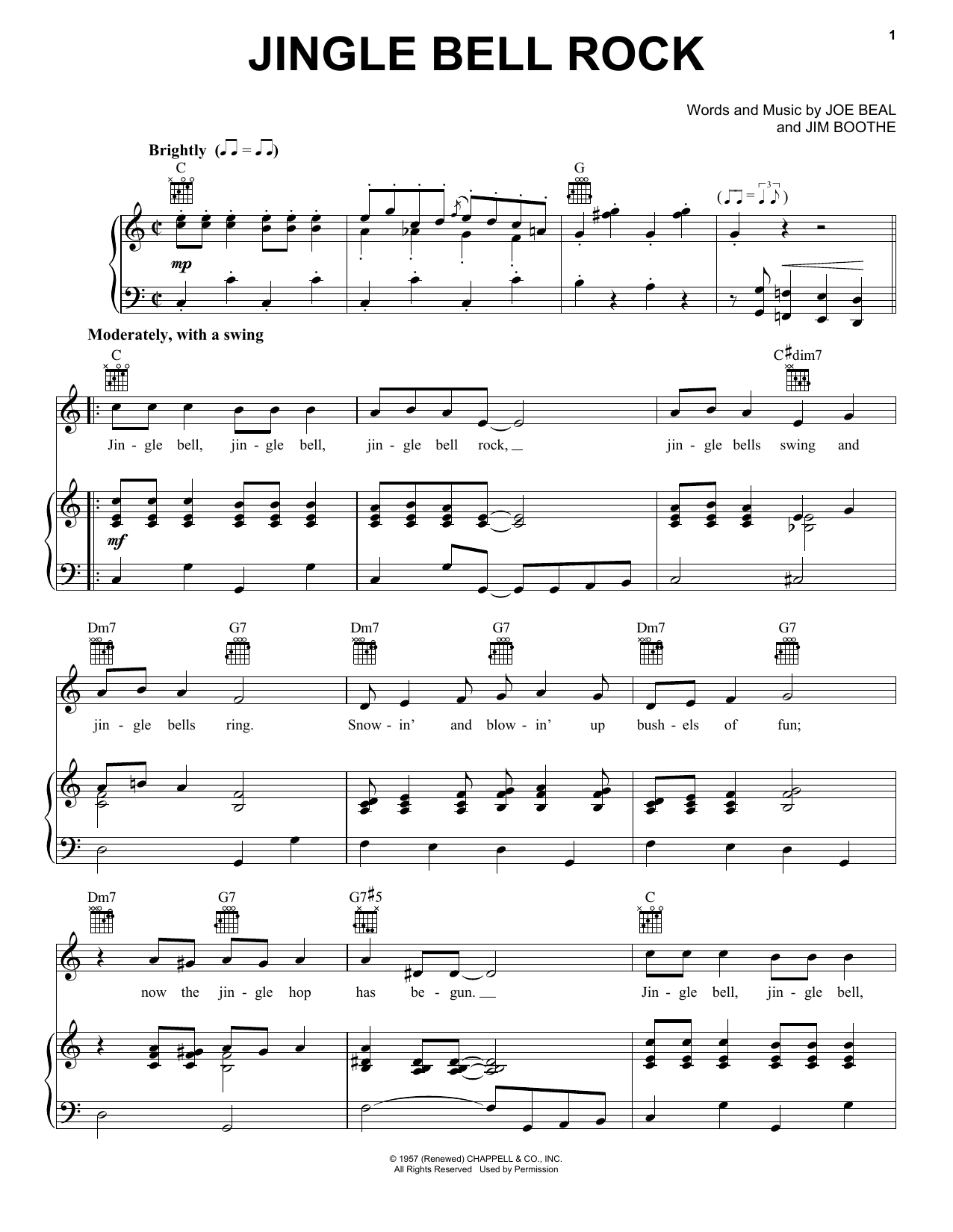 Bobby Helms Jingle-Bell Rock sheet music notes and chords. Download Printable PDF.