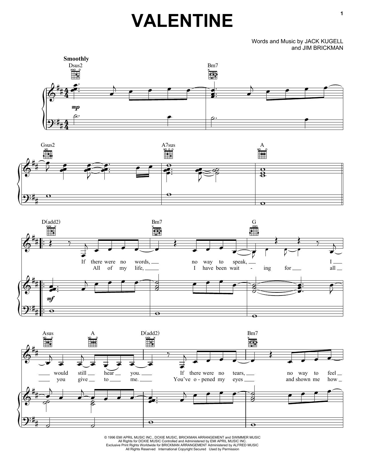 Jim Brickman with Martina McBride Valentine sheet music notes and chords. Download Printable PDF.