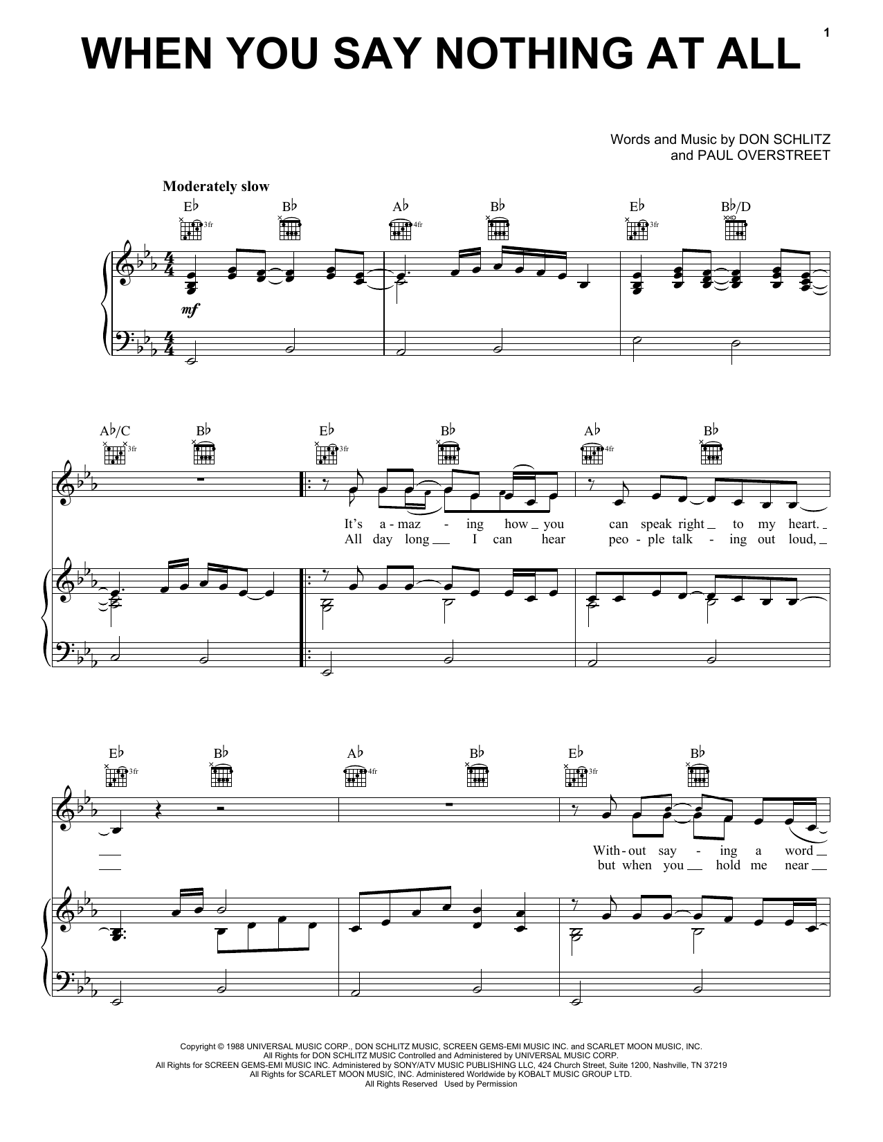 Alison Krauss & Union Station When You Say Nothing At All sheet music notes and chords. Download Printable PDF.
