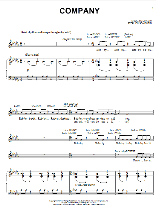 Stephen Sondheim Company sheet music notes and chords. Download Printable PDF.