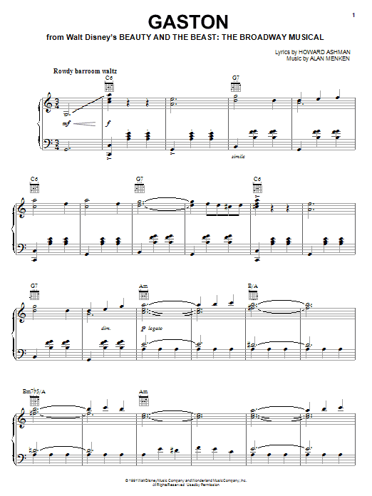 Alan Menken Gaston sheet music notes and chords. Download Printable PDF.