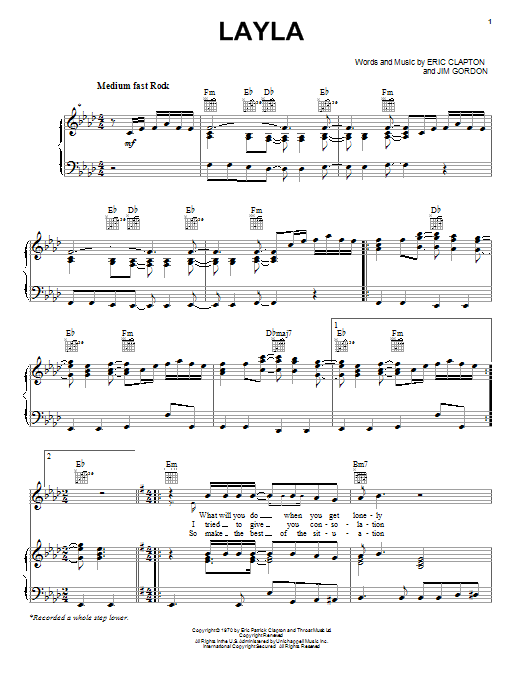 Derek And The Dominos Layla sheet music notes and chords. Download Printable PDF.