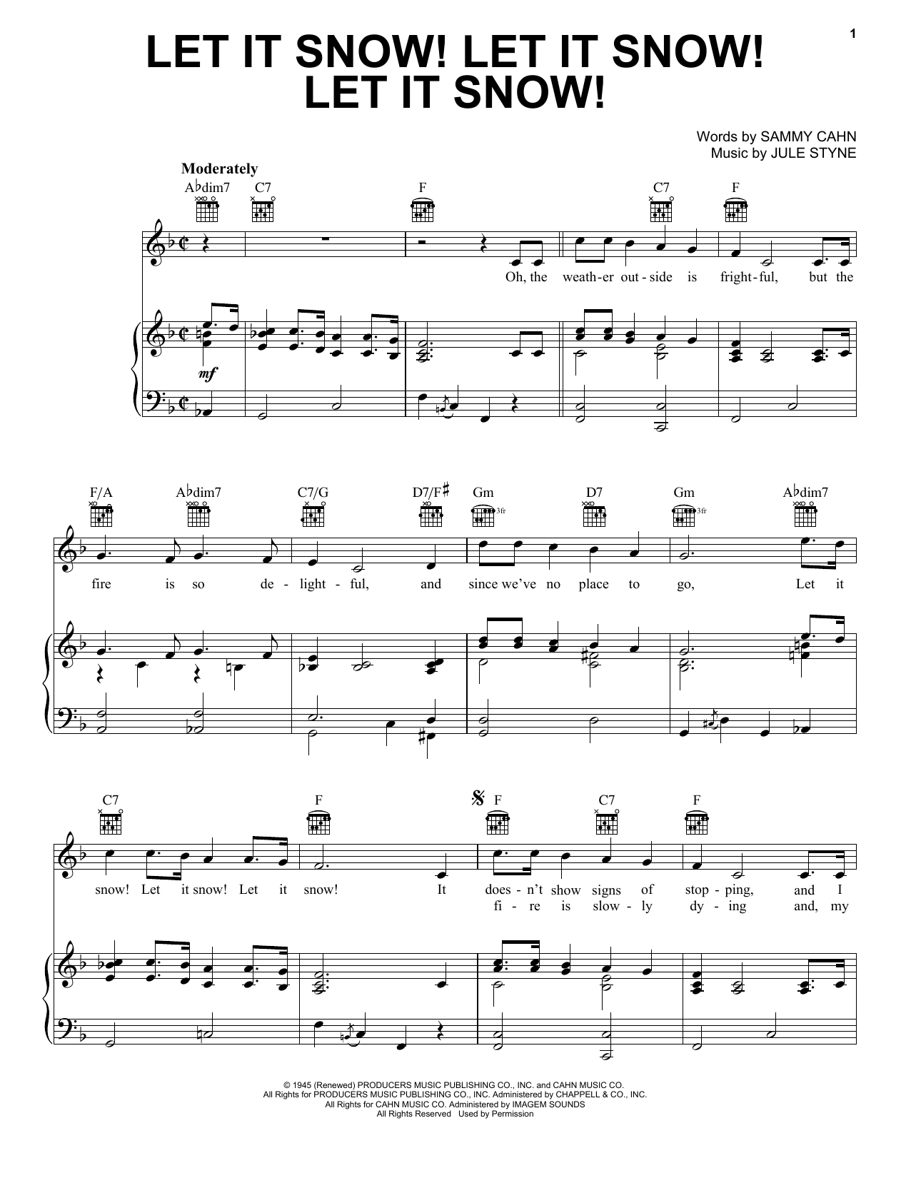 Sammy Cahn Let It Snow! Let It Snow! Let It Snow! sheet music notes and chords. Download Printable PDF.