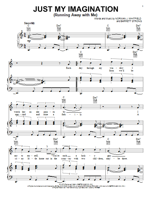 The Temptations Just My Imagination (Running Away With Me) sheet music notes and chords. Download Printable PDF.