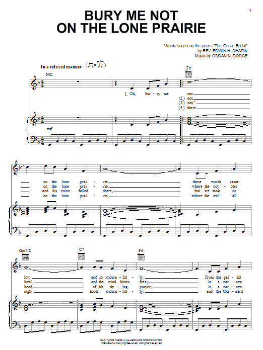 Edwin H. Chapin Bury Me Not On The Lone Prairie sheet music notes and chords. Download Printable PDF.